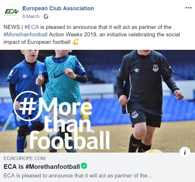 ECA Facebook Morethanfootball post